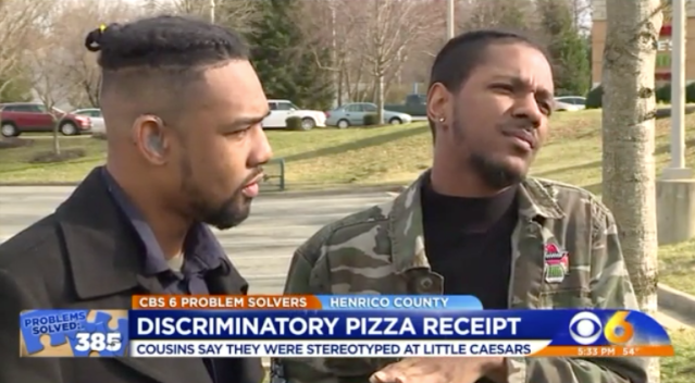 Marcus Robertson and Rosman Harris are awaiting an apology from Little Caesars. (Photo: WTVR)