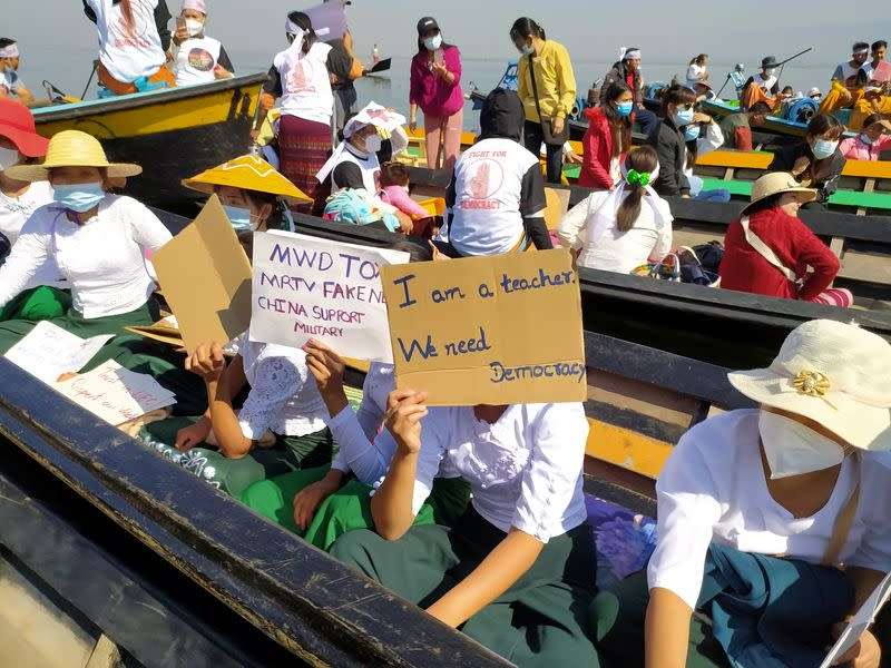 Protest against the military coup in Inle Lake