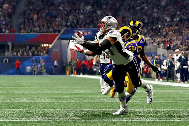 Rob Gronkowski's game-changing catch that set up the winning score against the Los Angeles Rams. (Getty)