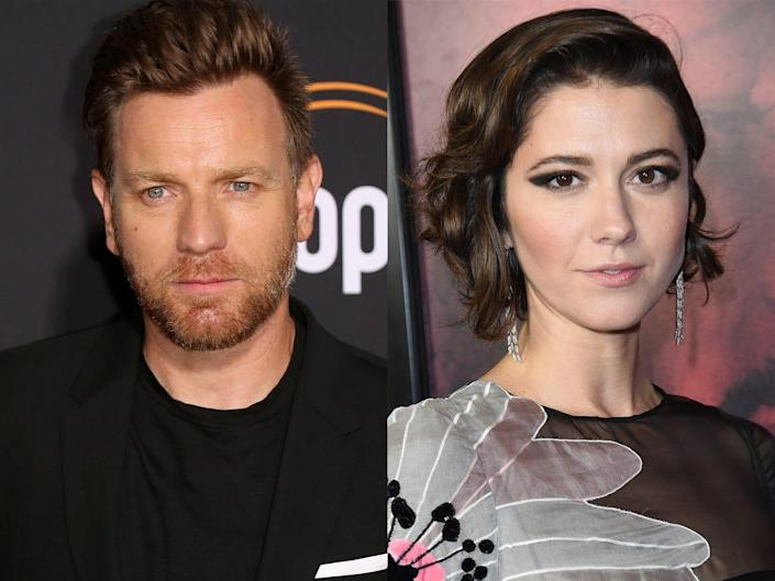 On the left: Ewan McGregor posing on a red carpet in July 2018. On the right: Mary Elizabeth Winstead posing on a red carpet in September 2018.