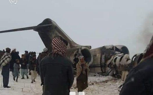 Pictures shared by Taliban linked social media accounts showed wreckage of an E11 aircraft on a snowy plain.