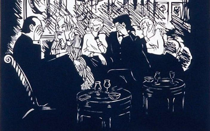 ... and Late Night Conversation, one of a series of prints by the cartoonist Nicholas Garland - Crown Copyright, UK
