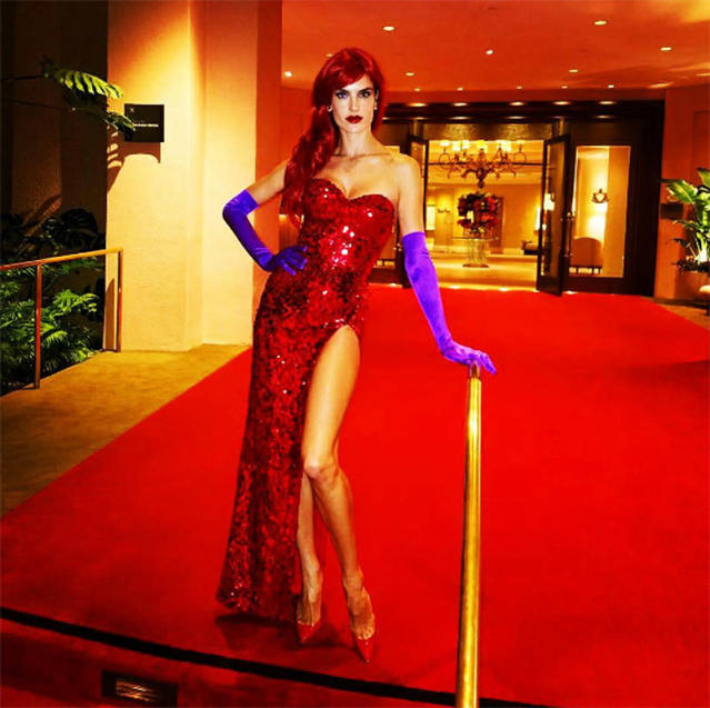 "<p>The Victoria's Secret Angel flaunted her curves in a red sequined gown Jessica Rabbit would approve of! (Photo: ""<span>Instagram</span>) </p>"