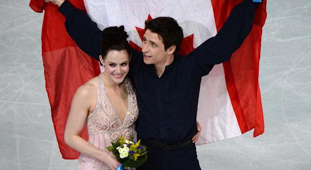 Virtue and Moir after their silver medal performance (Getty Images)