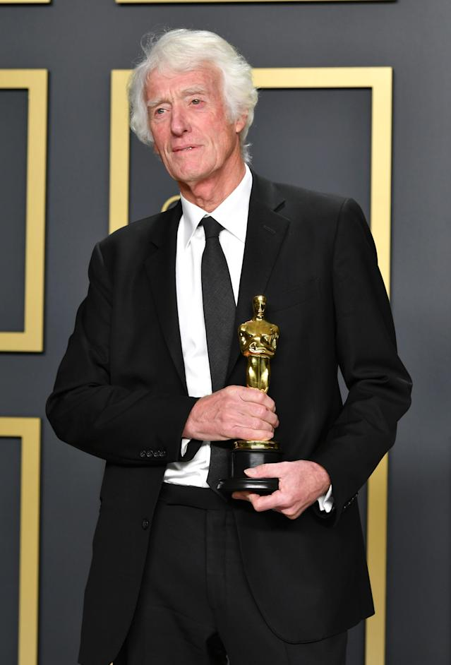 """Cinematographer Roger Deakins, winner of the Cinematography award for """"1917,"""" poses in the press room during the 92nd Annual Academy Awards at Hollywood and Highland on February 09, 2020 in Hollywood, California. (Photo by Amy Sussman/Getty Images)"""