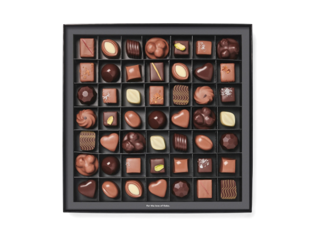 Choc sets don't get much more deluxe than this amazing forty-nine piece selection of Koko Black's most loved pralines. Photo: Koko Black