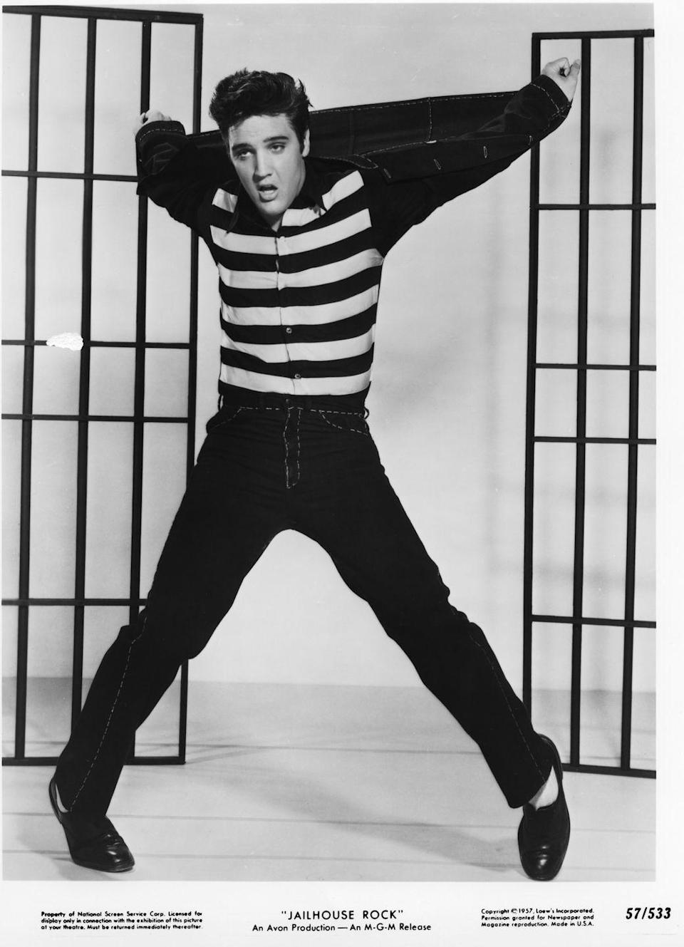 <p>There are denim outfits and then there is <em>the</em> denim outfit Elvis Presley sported in <em>Jailhouse Rock</em>. The King of Rock 'n Roll's famous look paired a black Canadian tuxedo with a black and white striped shirt for a scene in one of his most beloved films. </p>