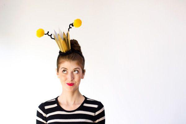"""<p>This """"Queen Bee"""" costume is a brilliant little getup for anyone who's new to the pun game. The best part?<strong> </strong>It's as easy as it is creative—and instantly recognizable too.</p><p><strong>Get the tutorial at <a href=""""https://studiodiy.com/2013/10/23/diy-queen-bee-costume/"""" target=""""_blank"""">Studio DIY</a>. </strong></p><p><a class=""""body-btn-link"""" href=""""https://www.amazon.com/Quella-Womens-Sleeve-Stripe-Sheath/dp/B01HZ5SHXO?tag=syn-yahoo-20&ascsubtag=%5Bartid%7C10050.g.22216730%5Bsrc%7Cyahoo-us"""" target=""""_blank"""">SHOP STRIPED SHIRTS</a></p>"""