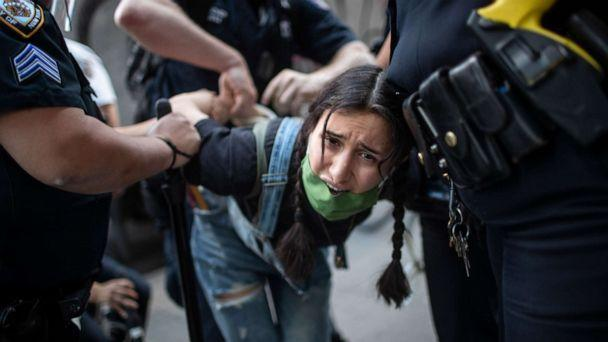 PHOTO: Police arrest a protester during a solidarity rally for George Floyd, Saturday, May 30, 2020, in New York.  (Wong Maye-e/AP)