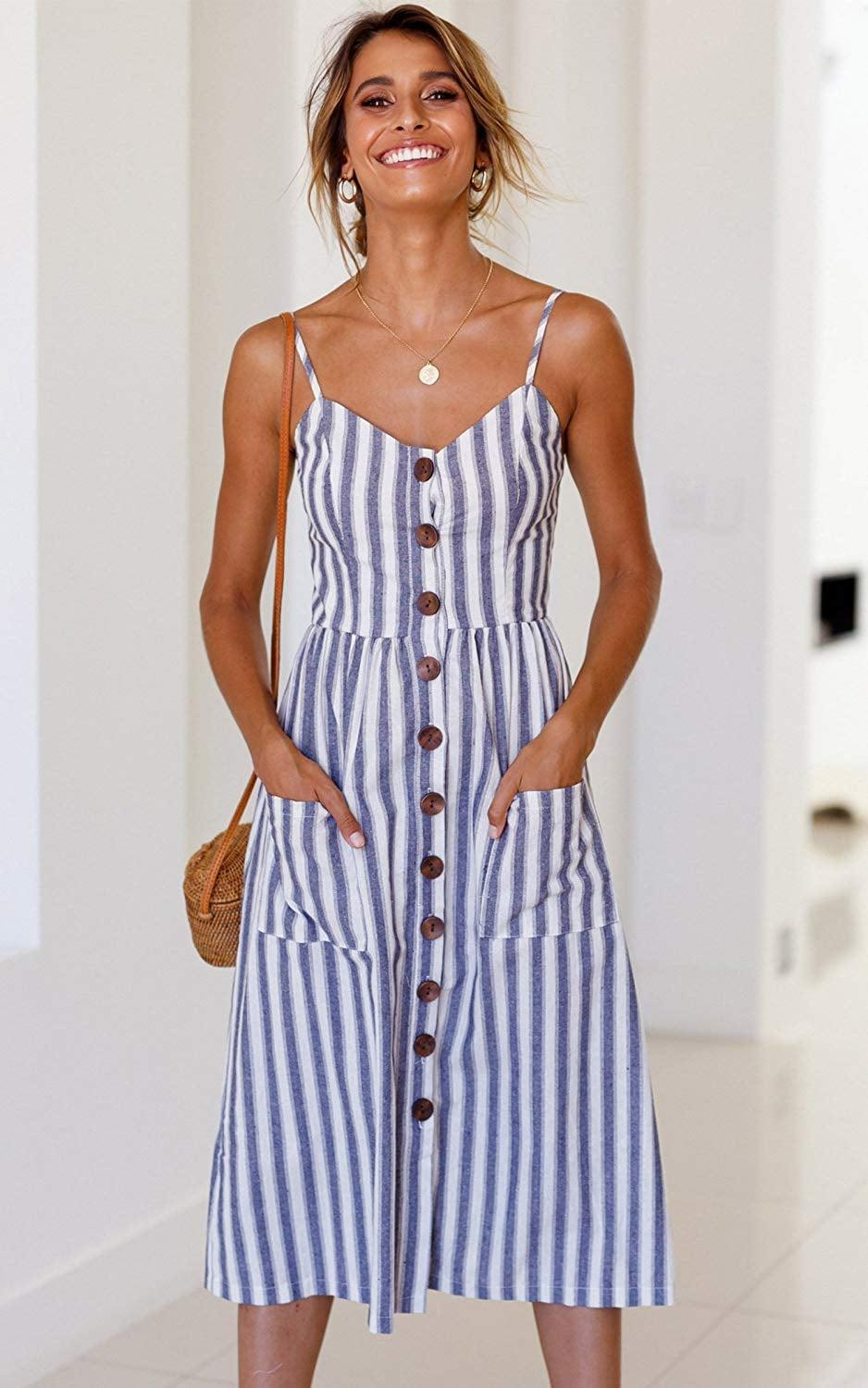 <p>This <span>Angashion Midi Dress</span> ($15 - $30) comes in 30 other different prints, and has over 10,000 great reviews. We particularly like this color combo for the nautical vibes, as it makes us want to go on a cruise.</p>