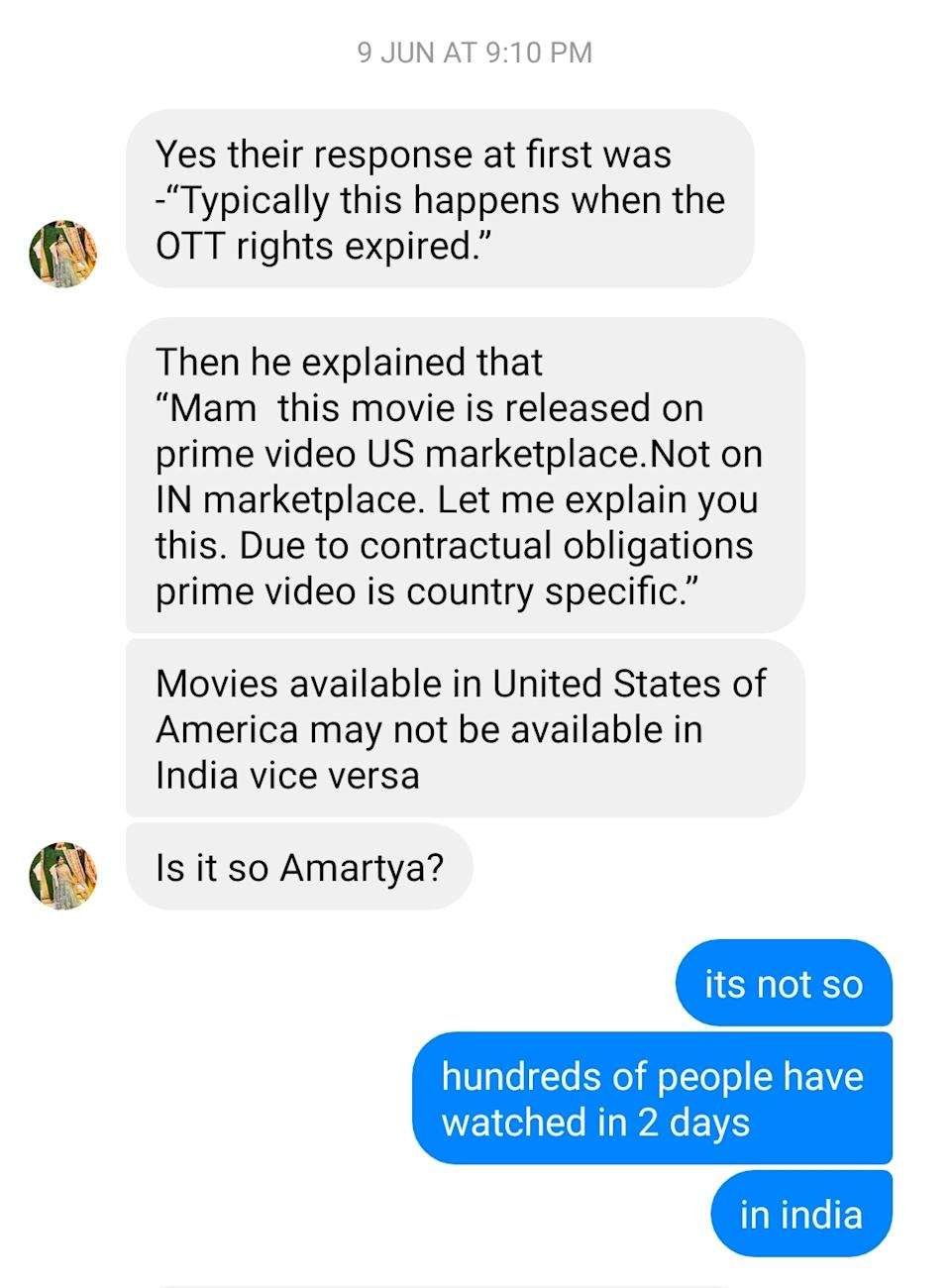 Screenshot of a conversation of the director of <i>Khyanikaa </i>and a viewer.