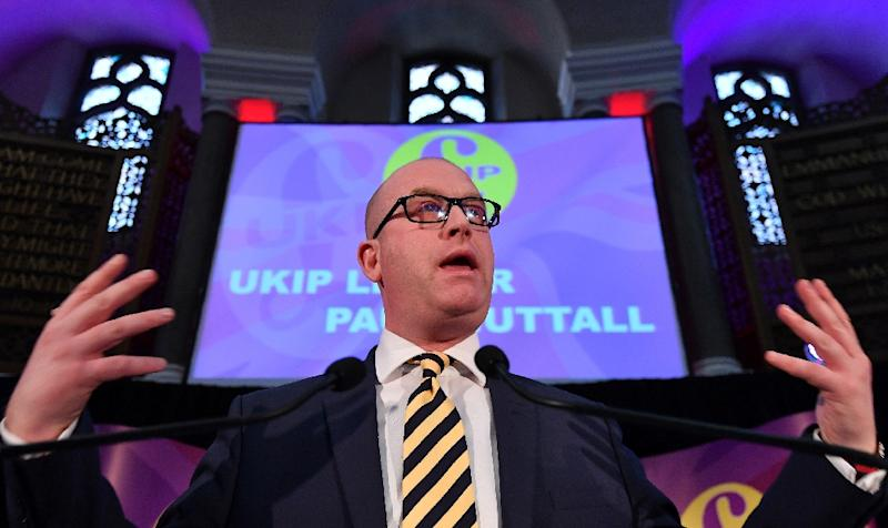 Newly-elected leader of the UK Independence Party, Paul Nuttall, delivers his acceptance speech following the leadership in London, on November 28, 2016 (AFP Photo/Ben Stansall)