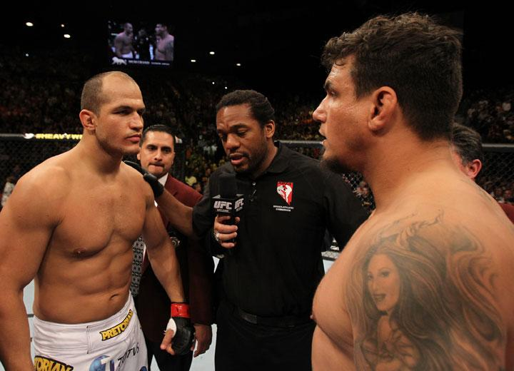 LAS VEGAS, NV - MAY 26:  Junior dos Santos (left) and Frank Mir (right) faceoff before the Heavyweight Championship bout at UFC 146 at MGM Grand Garden Arena on May 26, 2012 in Las Vegas, Nevada.