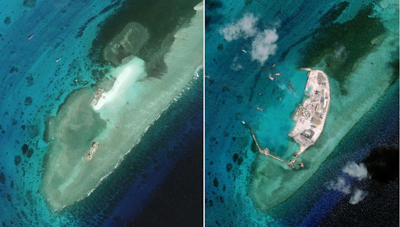 Satellite images taken in January 2010 (L) and April 2015 shows a section of West Reef -- which is part of the London Reefs group of western Spratly Islands, occupied by Vietnam, in the disputed South China Sea, showing land reclamation (AFP Photo/Digitalglobe)