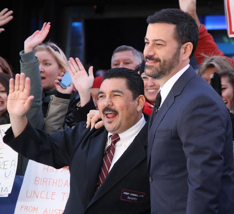 NEW YORK, NY - OCTOBER 19: Jimmy Kimmel with Guillermo Rodriguez at Good Morning America promoting Jimmy Kimmel Live shooting at the Brooklyn Academy of Music this week on October 19, 2015 in New York City. Credit: RW/MediaPunch/IPX