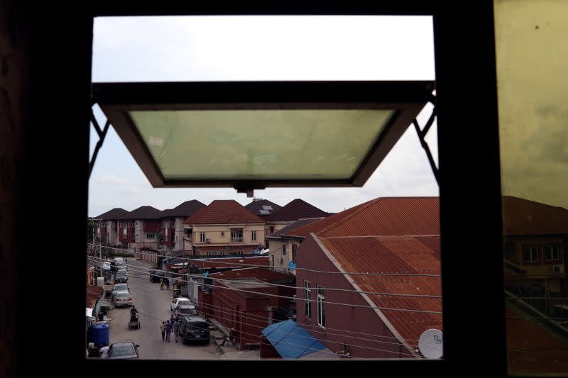 A view is pictured from the window of Adetona Omokanye's' home in Lagos