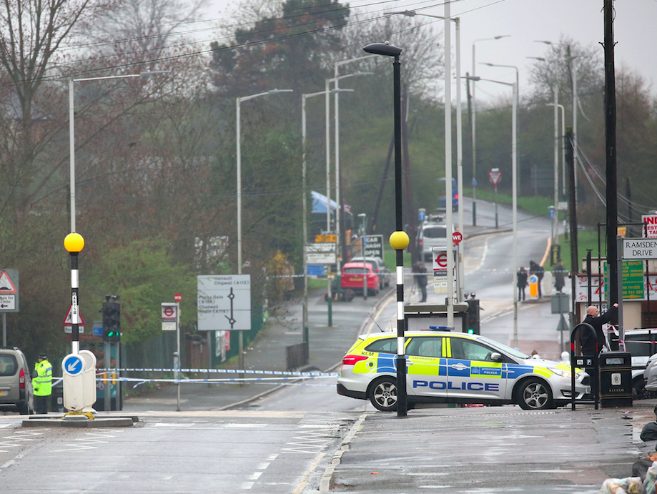 <em>Police have cordoned off the area after a man was shot dead by officers (PA)</em>