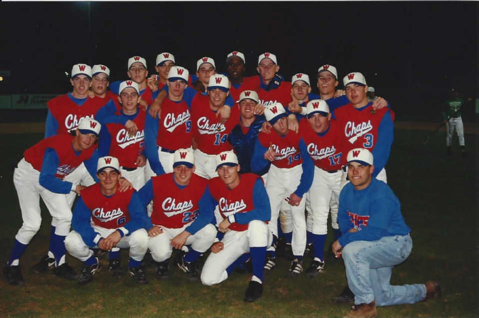 Drew Brees (9) also starred on the Westlake baseball team. His coaches believed he'd have been a pro prospect in that sport too had he focused on it. (photo via Chip and Amy Brees)