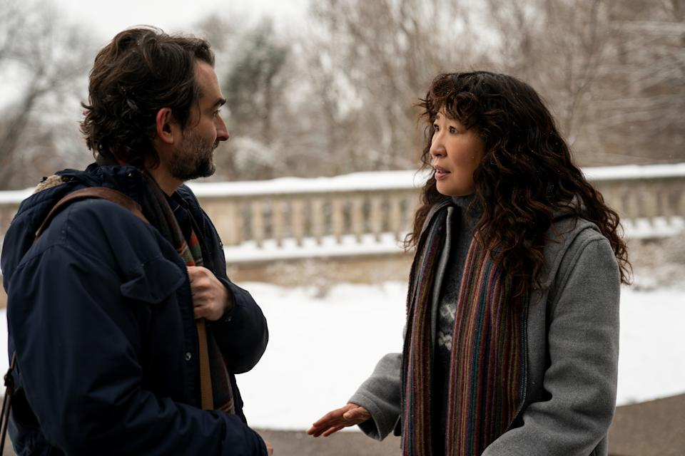 Hay Duplass as Bill and Sandra Oh as Ji-Yoon in episode 101 of