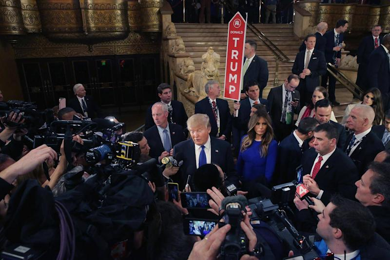 Republican presidential candidate Donald Trump greets reporters in the spin room following a debate sponsored by Fox News at the Fox Theatre on March 3, 2016 in Detroit, Michigan: Chip Somodevilla/Getty Images