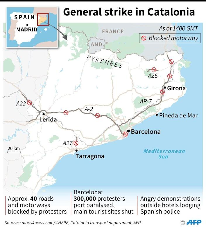 Map of Catalonia, showing key locations of general strike across the region (AFP Photo/Kun TIAN)