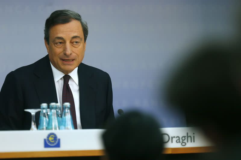 European Central Bank President Draghi speaks during the bank's monthly news conference in Frankfurt