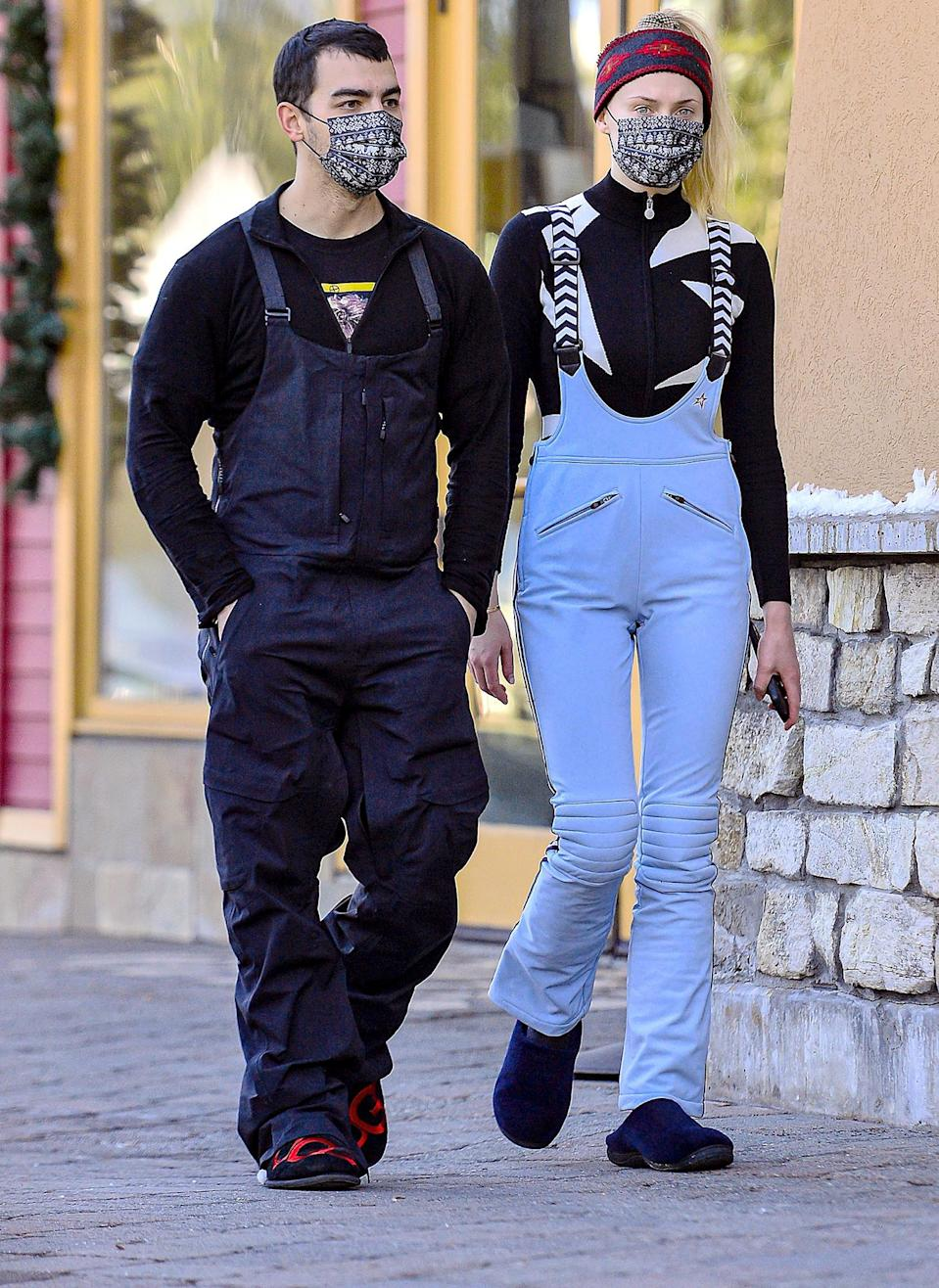 <p>Joe Jonas and Sophie Turner stroll into town after hitting the slopes and enjoying the snow on Sunday in Mammoth Lakes, California.</p>