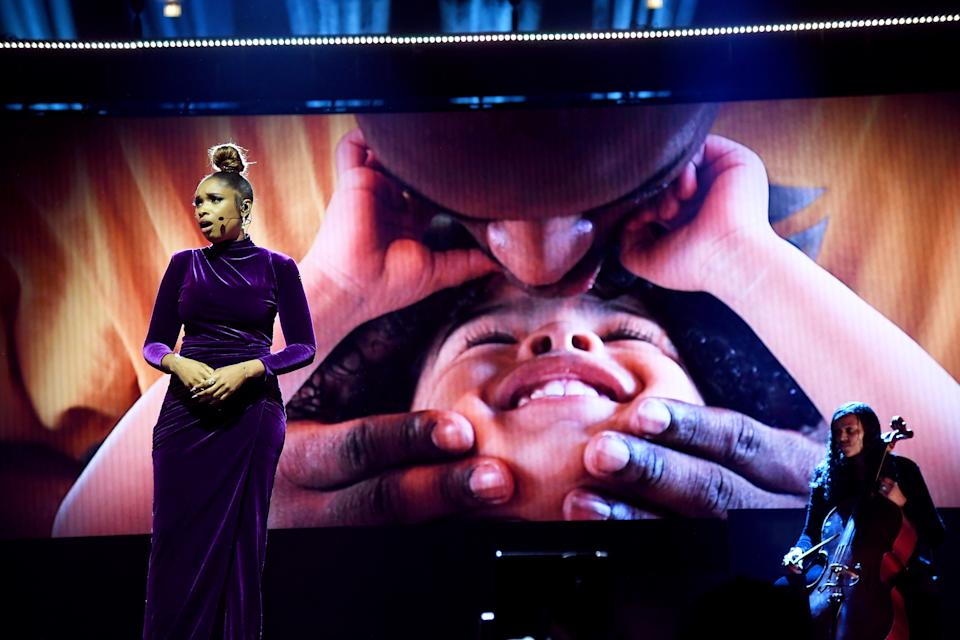 Grammy Award-winning singer Jennifer Hudson paid tribute to Kobe and Gianna Bryant prior to the 2020 All-Star Game in Chicago when NBA commissioner Adam Silver named the game's MVP award in the Lakers legend's honor. (Kevin Mazur/Getty Images)