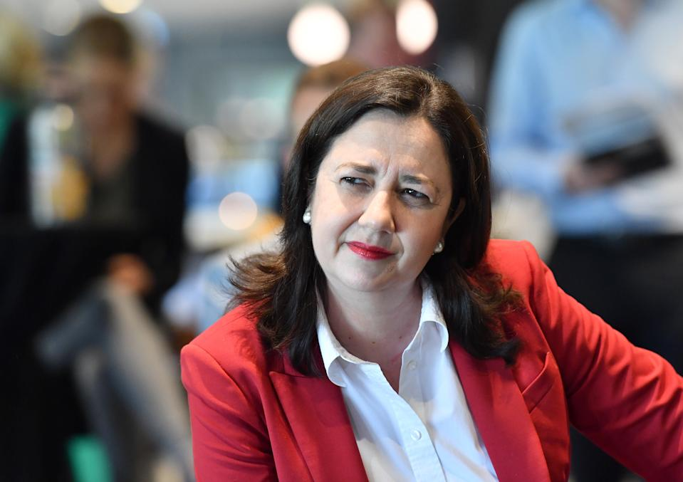 Queensland Premier Annastacia Palaszczuk is seen at the announcement that Brisbane will host the AFL Grand Final. Source: AAP