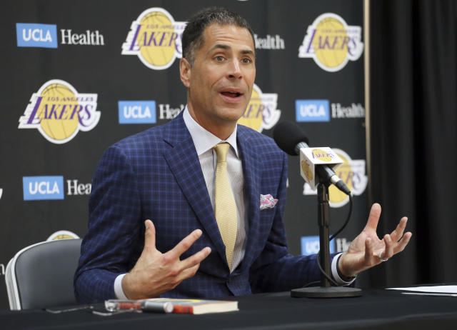 "<a class=""link rapid-noclick-resp"" href=""/nba/teams/lal"" data-ylk=""slk:Lakers"">Lakers</a> general manager Rob Pelinka talks about the acquisition of <a class=""link rapid-noclick-resp"" href=""/nba/players/3704/"" data-ylk=""slk:LeBron James"">LeBron James</a> and other free agents at a news conference at the team's headquarters in El Segundo, Calif., on Wednesday. (AP)"