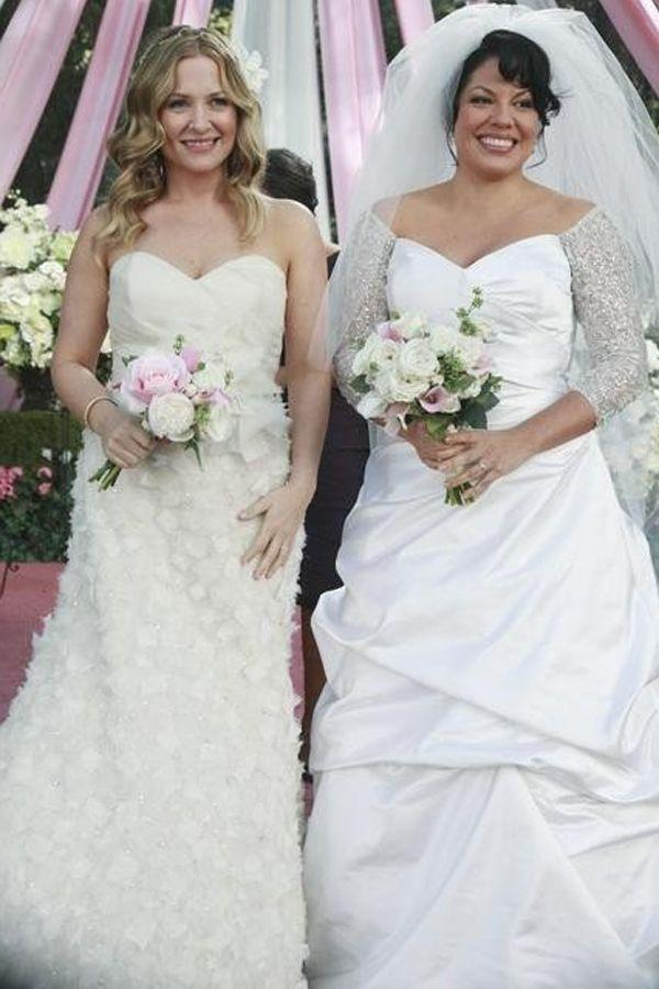 <p>Two other Seattle Grace Hospital doctors who looked great at their wedding? Dr. Arizona Robbins and Dr. Callie Torres, who both nailed the bridal look. </p>