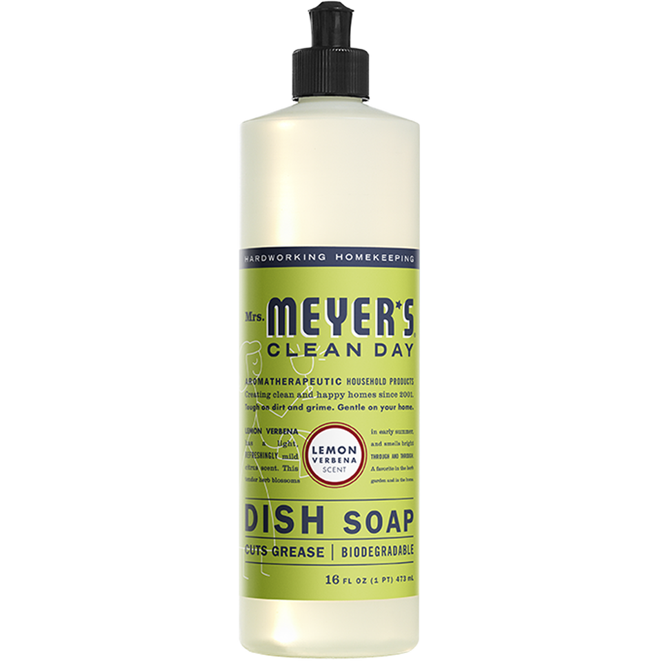 """<p><strong>MRS. MEYER'S CLEAN DAY</strong></p><p>amazon.com</p><p><strong>$11.64</strong></p><p><a href=""""https://www.amazon.com/dp/B01MG2BJF0?tag=syn-yahoo-20&ascsubtag=%5Bartid%7C2141.g.37374115%5Bsrc%7Cyahoo-us"""" rel=""""nofollow noopener"""" target=""""_blank"""" data-ylk=""""slk:Shop Now"""" class=""""link rapid-noclick-resp"""">Shop Now</a></p><p>Give your pots and pans a greener clean with Mrs. Meyer's Clean Day dish soap. It's made with plant-derived ingredients, scented with delicious essential oils (like lemon verbena, basil, and honeysuckle!), and comes in recyclable packaging.</p>"""
