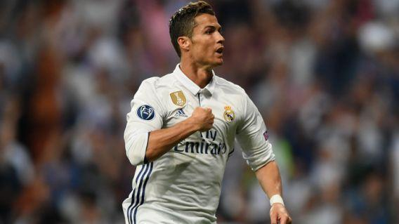 MADRID, SPAIN – APRIL 18: Cristiano Ronaldo of Real Madrid celebrates scoring his sides first goal and his hatrick during the UEFA Champions League Quarter Final second leg match between Real Madrid CF and FC Bayern Muenchen at Estadio Santiago Bernabeu on April 18, 2017 in Madrid, Spain. (Photo by Shaun Botterill/Getty Images)