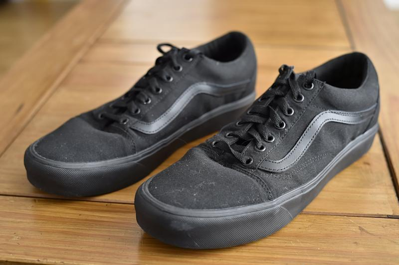 Hickin's Vans trainers which are said to breach his school's uniform policy. [Photo: SWNS]