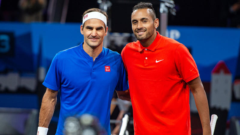 Roger Federer and Nick Kyrgios at the Laver Cup. (Photo by RvS.Media/Monika Majer/Getty Images)