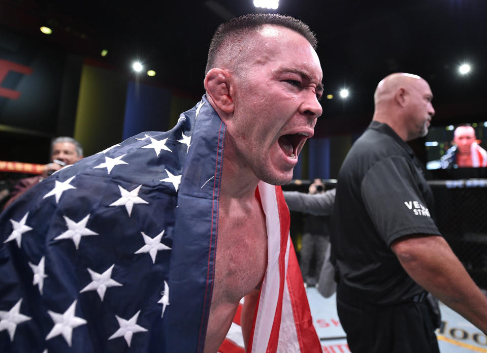 Colby Covington reacts after his TKO victory over Tyron Woodley