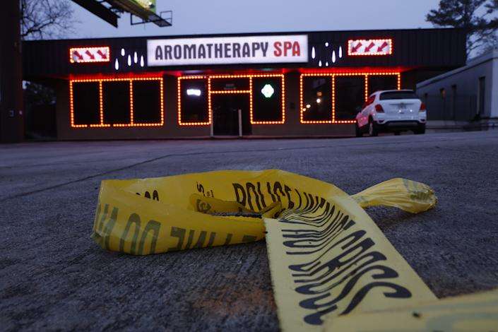Aramotherapy Spa, one of three locations where deadly shootings happened yesterday at three day spas, in Atlanta, Georgia, U.S. March 17, 2021. (Chris Aluka Berry for The Washington Post via Getty Images)