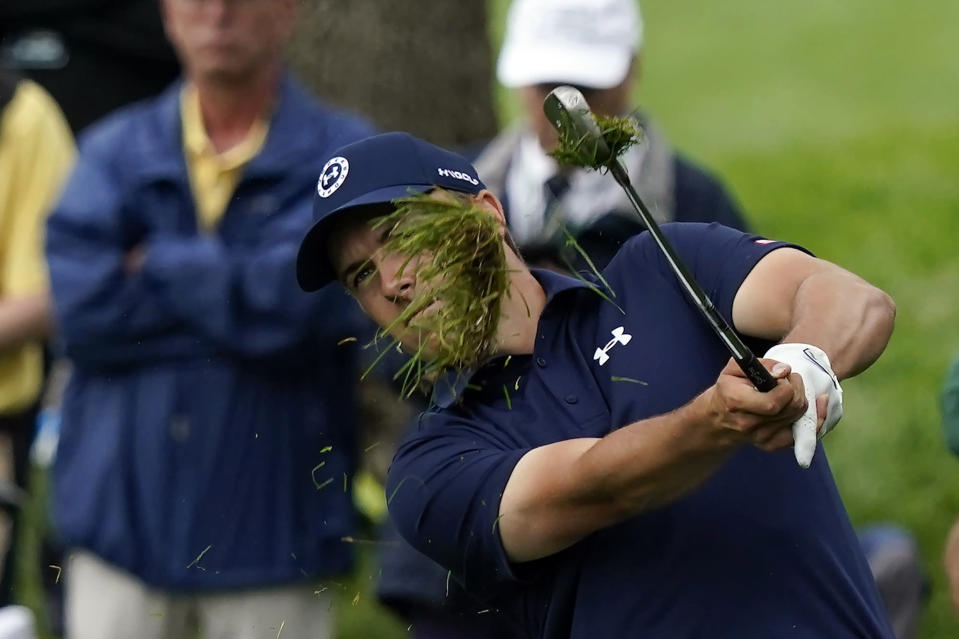 Jordan Spieth hits to the second green during the first round of the Memorial golf tournament, Thursday, June 3, 2021, in Dublin, Ohio. (AP Photo/Darron Cummings)