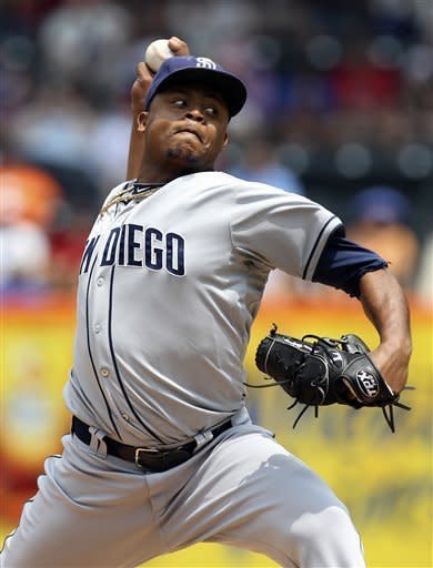 San Diego Padres starting pitcher Edinson Volquez delivers during the first inning of the baseball game against the New York Mets, Sunday, May 27, 2012, at Citi Field in New York. (AP Photo/Seth Wenig)