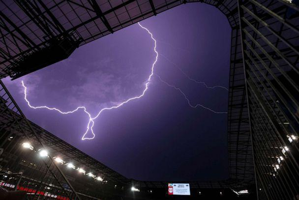 PHOTO: Lightning strikes above Red Bull Arena in Harrison, New Jersey, July 17, 2021. (Vincent Carchietta/USA TODAY Sports via Reuters)