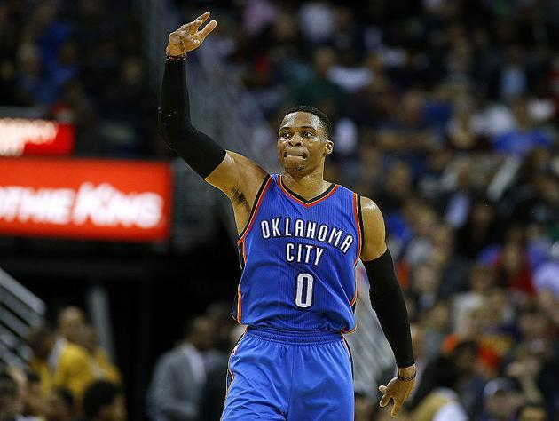 """<a class=""""link rapid-noclick-resp"""" href=""""/nba/players/4390/"""" data-ylk=""""slk:Russell Westbrook"""">Russell Westbrook</a>, and one of the many shots he's taken in 2016-17. (Getty Images)"""