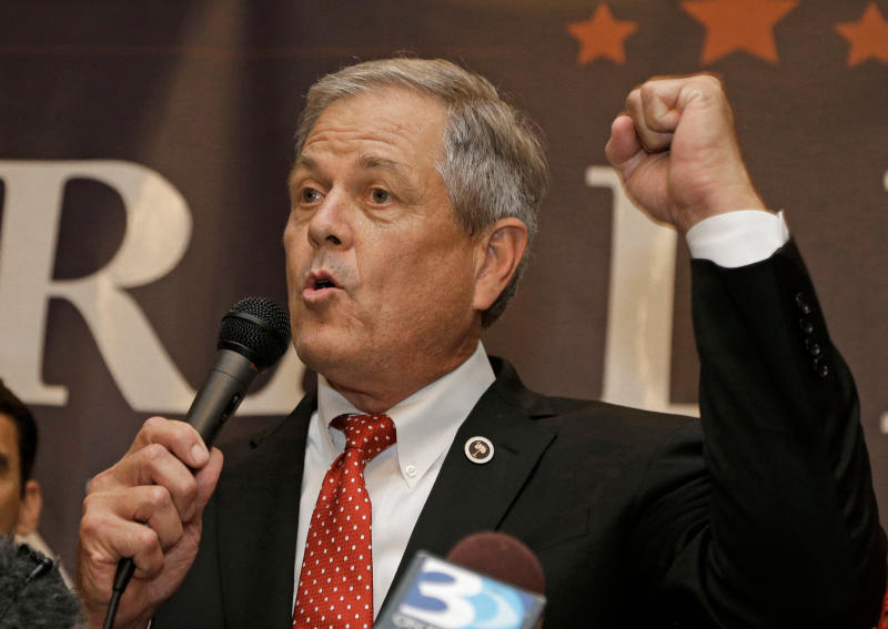 <p> FILE - In this Tuesday, June 20, 2017, file photo, Republican Ralph Norman speaks to supporters at a campaign party in Rock Hill, S.C., after winning South Carolina's 5th Congressional District. Norman pulled out his own loaded handgun during a meeting with constituents Friday, April 6, 2018, to make a point that guns are dangerous only in the hands of criminals. (AP Photo/Chuck Burton, File) </p>
