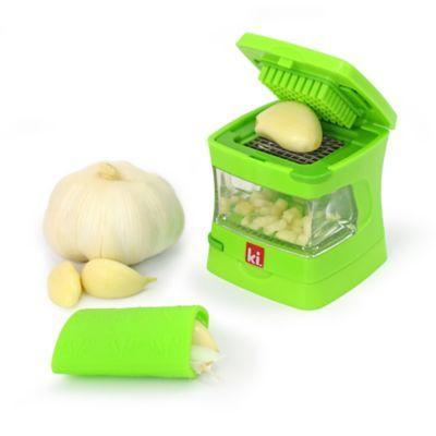 "<h3><a href=""https://www.bedbathandbeyond.com/store/product/kitchen-innovations-garlic-chopper-with-garlic-peeler-storage-container-in-green/1061430785"" rel=""nofollow noopener"" target=""_blank"" data-ylk=""slk:Kitchen Innovations Garlic Chopper with Garlic Peeler"" class=""link rapid-noclick-resp"">Kitchen Innovations Garlic Chopper with Garlic Peeler</a></h3> <br>Don't be deceived by the size of this little green gadget. Skin, slice, dice, or grate garlic in a matter of seconds using this multifunctional device that also works as its own storage system. Plus, the clear container will catch your crushed garlic-y goods for minimal mess. <br><br><strong>Kitchen Innovations</strong> Garlic Chopper with Garlic Peeler, $, available at <a href=""https://go.skimresources.com/?id=30283X879131&url=https%3A%2F%2Fwww.bedbathandbeyond.com%2Fstore%2Fproduct%2Fkitchen-innovations-garlic-chopper-with-garlic-peeler-storage-container-in-green%2F1061430785"" rel=""nofollow noopener"" target=""_blank"" data-ylk=""slk:Bed Bath & Beyond"" class=""link rapid-noclick-resp"">Bed Bath & Beyond</a><br>"