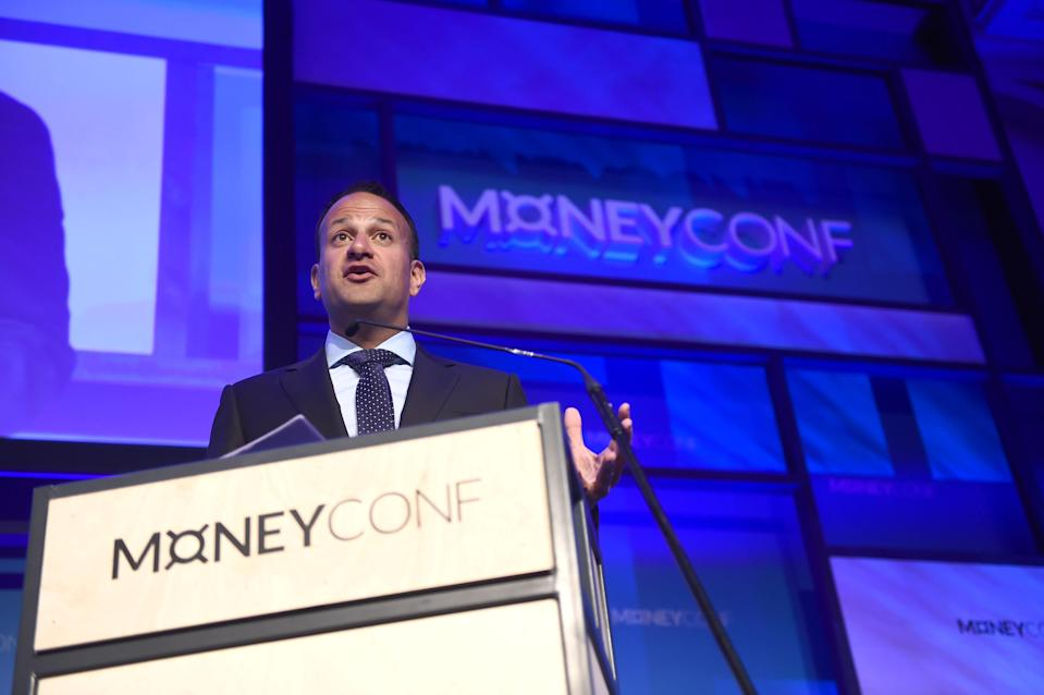 Leo Varadkar, Ireland's prime minister, speaking at an event at the RDS Arena in Dublin. Photo: Stephen McCarthy/Getty