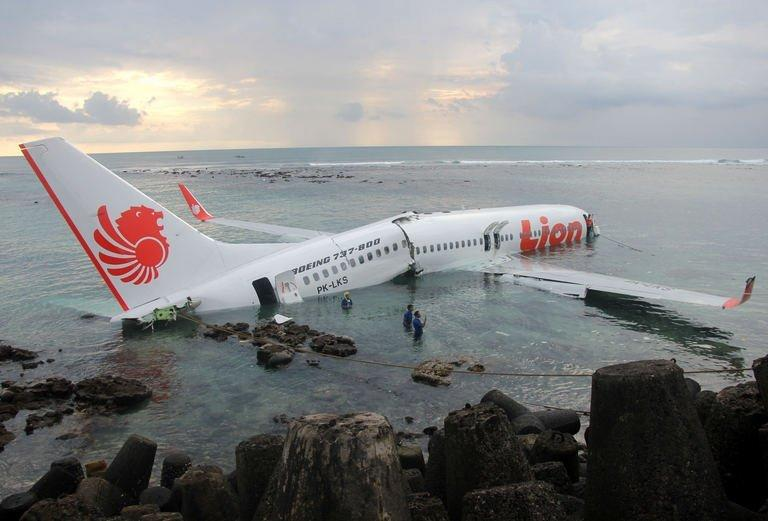 The Lion Air Boeing 737 lying in the water near Bali's Denpasar airport on Saturday. The dramatic crash of a Lion Air plane into the sea off Bali has raised fears Indonesia's fastest-growing carrier may be putting passenger safety at risk with its huge expansion plans, analysts said Sunday