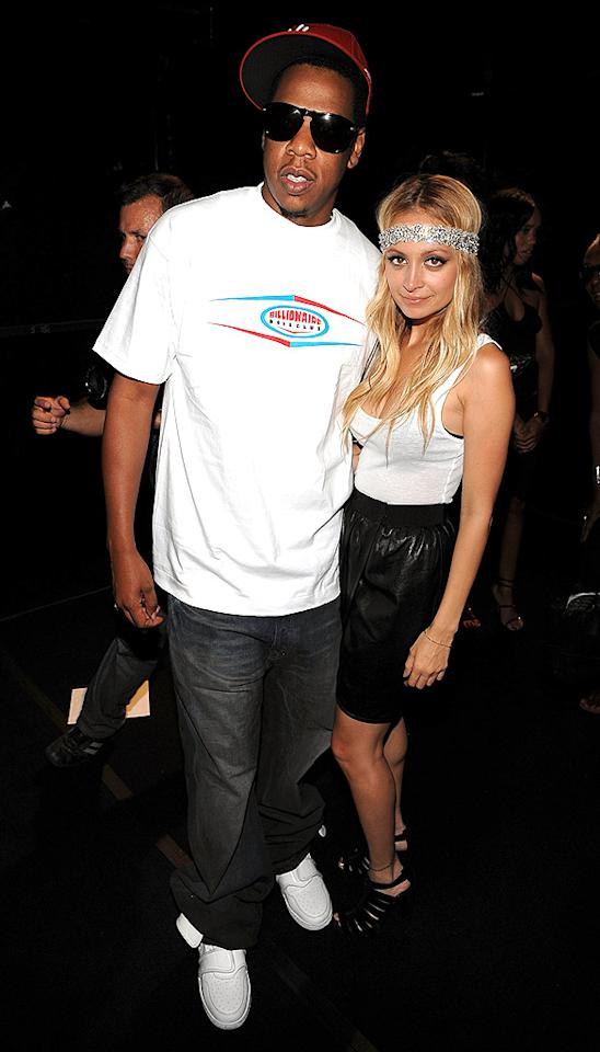 "Jay-Z and Nicole Richie caught up at the Marc Jacobs' show. Nicole definitely loved those strappy Manolos. She wore them all week! Dimitrios Kambouris/<a href=""http://www.wireimage.com"" target=""new"">WireImage.com</a> - September 8, 2008"