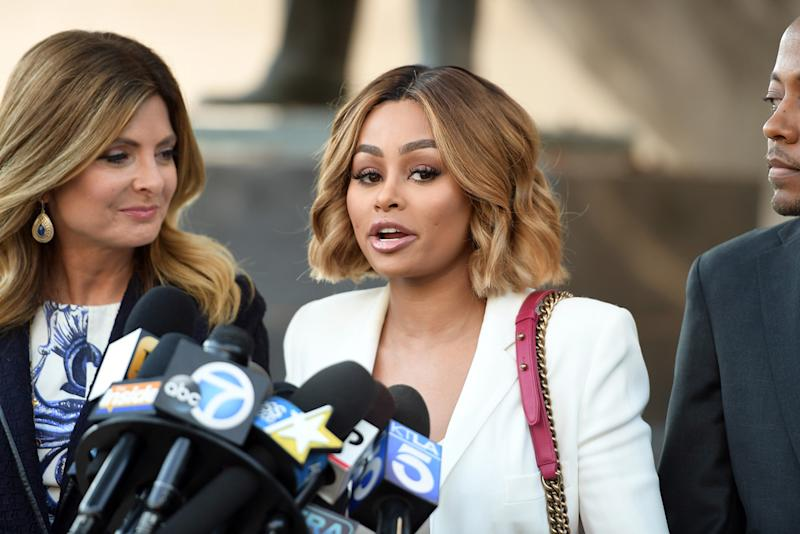 Lisa Bloom stands by client Blac Chyna at Los Angeles Superior Court on July 10. (Photo: Getty Images)