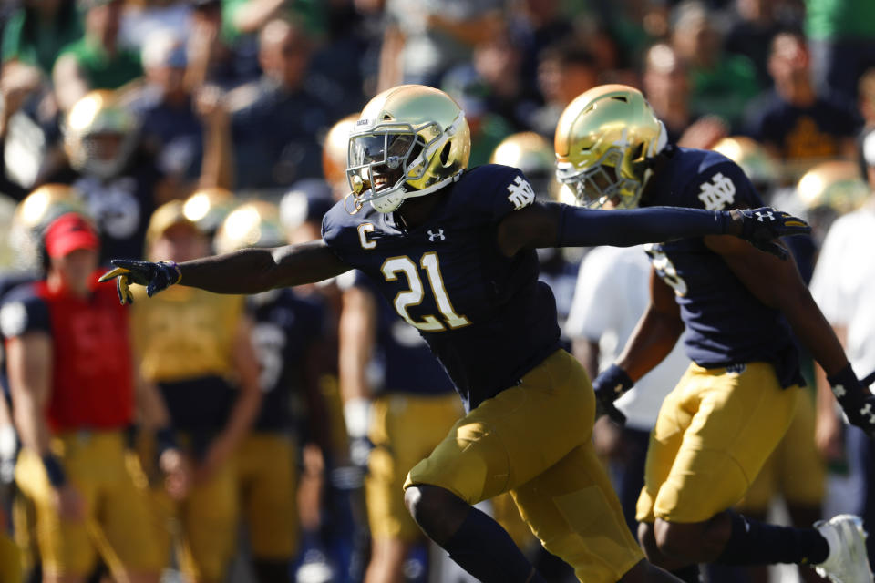 Notre Dame safety Jalen Elliott (21) celebrates an interception against New Mexico in the first half of an NCAA college football game in South Bend, Ind., Saturday, Sept. 14, 2019. (AP Photo/Paul Sancya)