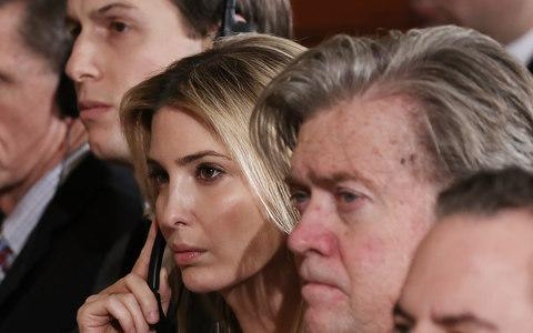 Jared Kushner, his wife Ivanka Trump and Steve Bannon - Credit: Getty Images