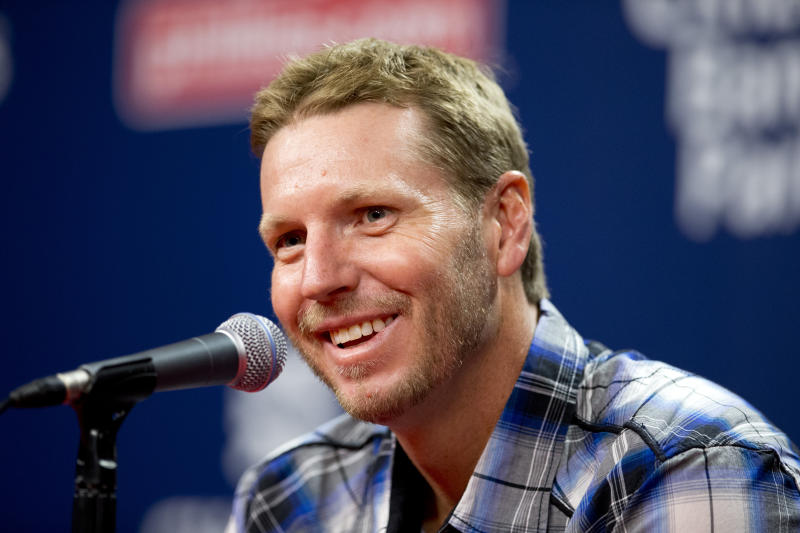PHILADELPHIA, PA - AUGUST 8: Former Major League pitcher Roy Halladay talks to the media prior to the game between the New York Mets and Philadelphia Phillies on August 8, 2014 at Citizens Bank Park in Philadelphia, Pennsylvania. (Photo by Mitchell Leff/Getty Images)